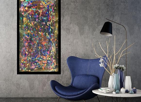 Œuvre originale abstraite Diapason 20x40 Aro Artiste Peintre