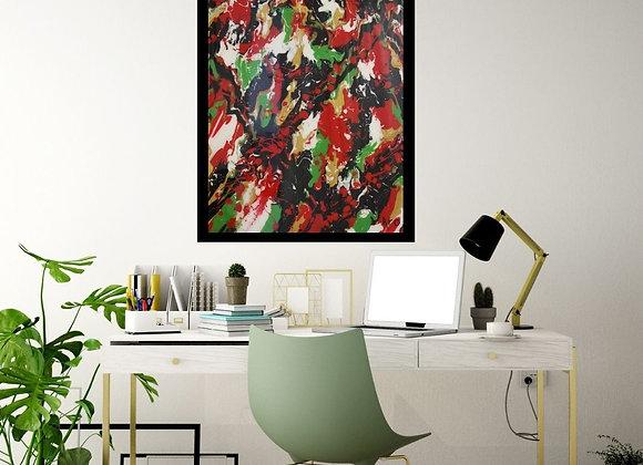 Œuvre originale abstraite Cherry Blossom 24x36 Aro Artiste Peintre
