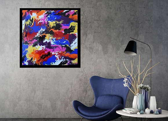Œuvre originale abstraite Les Sommets 24x24 Aro Artiste Peintre