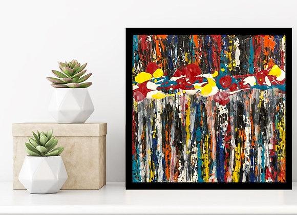 Œuvre originale abstraite Percevoir 6x6 Aro Artiste Peintre