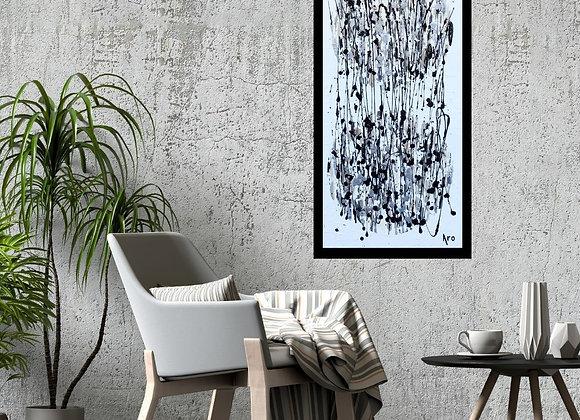 Œuvre originale abstraite Dynamique inversée 15x30 Aro Artiste Peintre