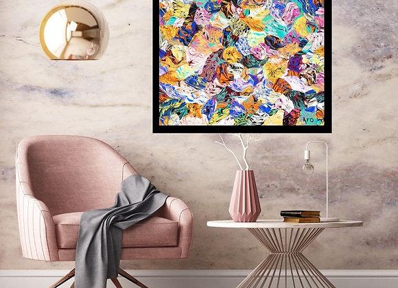 Œuvre originale abstraite Exotisme 30x30 Aro Artiste Peintre