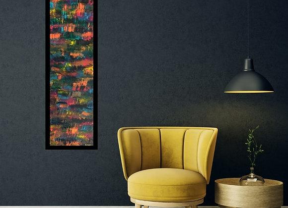 Œuvre originale abstraite Vibrations 15x60 Aro Artiste Peintre