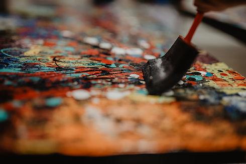 Team building avec Aro Artiste Peintre Creative workshop Abstract Art Aro Artist Painter