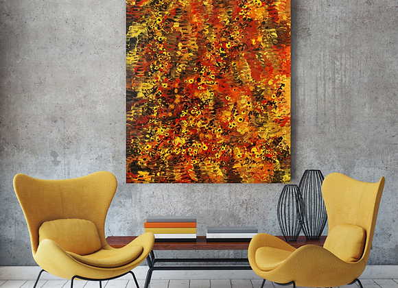 Oeuvre originale abstraite Atman 36x48 Aro Artiste Peintre