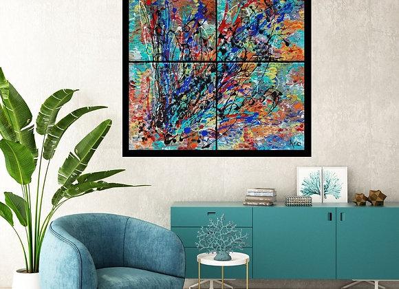 Œuvre originale abstraite Grandeur nature 32x32 Aro Artiste Peintre