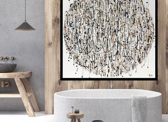 Œuvre originale abstraite Fall in love again 48x48 Aro Artiste Peintre