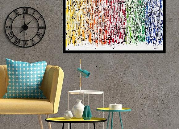 Oeuvre originale abstraite Over the rainbow Aro Artiste Peintre