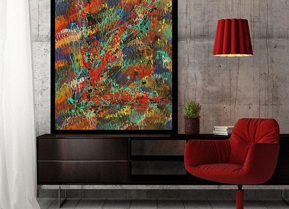 Œuvre originale abstraite Toujours plus loin 36x48 Aro Artiste Peintre