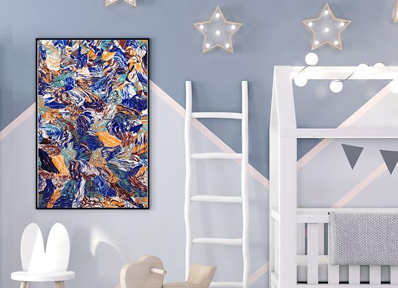 Œuvre originale abstraite Fantaisie 24x36 Aro Artiste Peintre