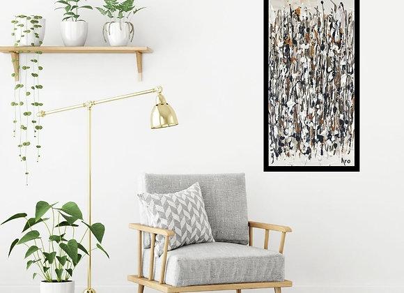 Oeuvre originale abstraite Comme un écho 10x20 Aro Artiste Peintre