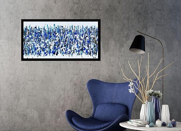 Œuvre originale abstraite Surfer sur la vague 24x12 Aro Artiste Peintre