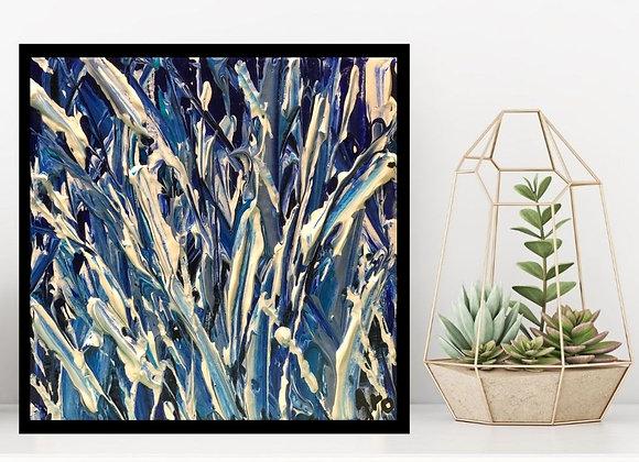 Œuvre originale abstraite Coeur de givre 6x6 Aro Artiste Peintre