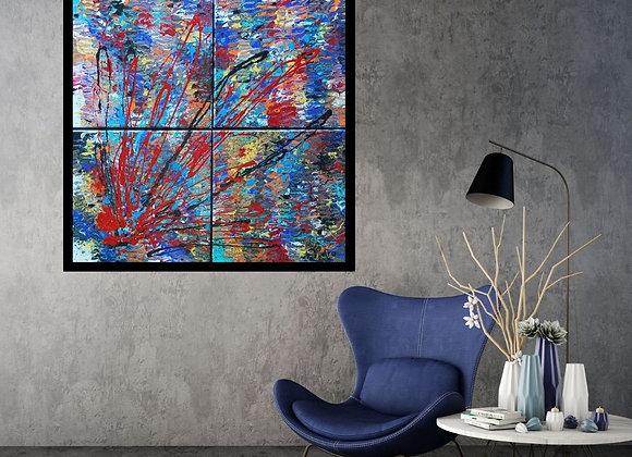 Œuvre originale abstraite Au bout de ses rêves 32x32 Aro Artiste Peintre