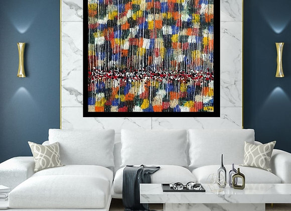 Œuvre originale abstraite All in 60x60 Aro Artiste Peintre
