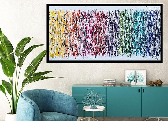 Oeuvre abstraite Ensemble tout est possible 60x30 Aro Artiste Peintre