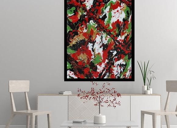 Œuvre originale abstraite Cherry Bomb 24x36 Aro Artiste Peintre