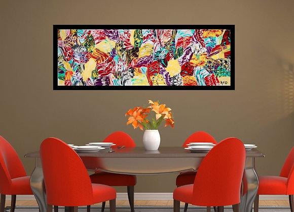 Œuvre originale abstraite Rainbow 36x12 Aro Artiste Peintre