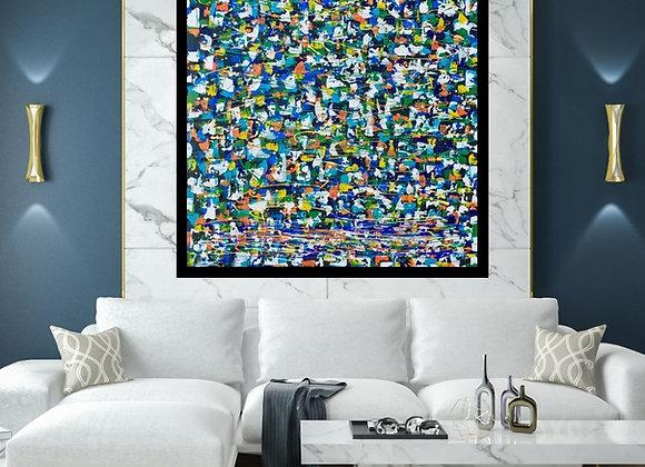 Œuvre originale abstraite La somme de mes rencontres 48x48 Aro Artiste Peintre