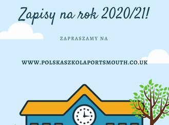 Zapisy na rok 2020/21 rozpoczęte
