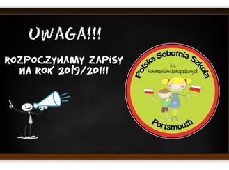 UWAGA! Rozpoczynamy zapisy na nowy rok szkolny 2019/20