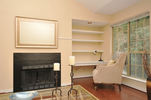 Wood Burning Fireplace with Desk Nook and Shelving!