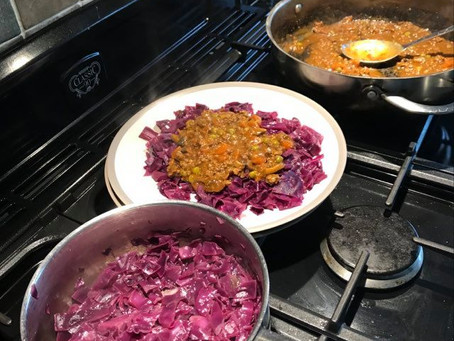 Spicy Steak Mince served on a bed of Red Cabbage