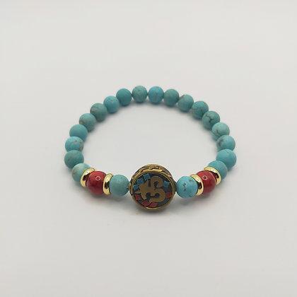 Bracelet turquoise/jade rouge, perle tibétaine
