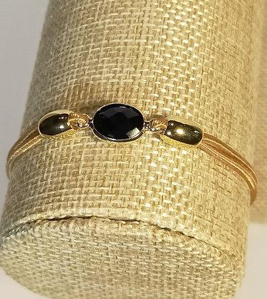 Bracelet élastique doré/noir