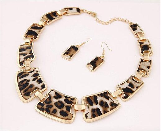 Collier géométrique léopard + boucles d'oreilles