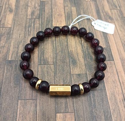 "Bracelet ""love"" doré Grenat rouge"