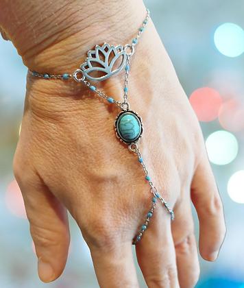 Bracelet-bague lotus bleu