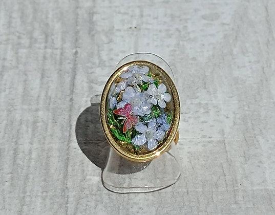 Bague résine ovale doré fleurs bleu #8