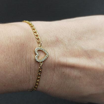 Bracelet chaîne Zirconium cœur Doré