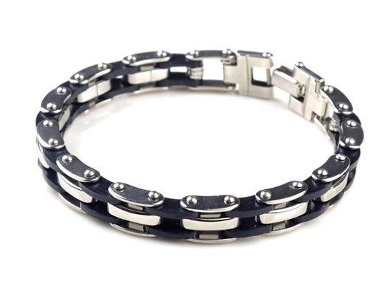 Bracelet homme en acier inoxydable et silicone noir 1
