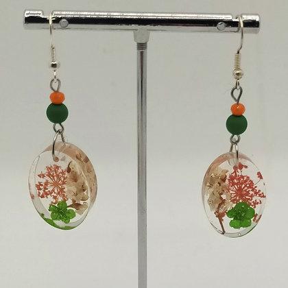 B.O. résine fleurs vert/orange/blanc, ovales #4