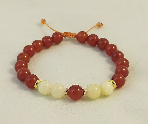 Bracelet ajustable cornaline /jade jaune