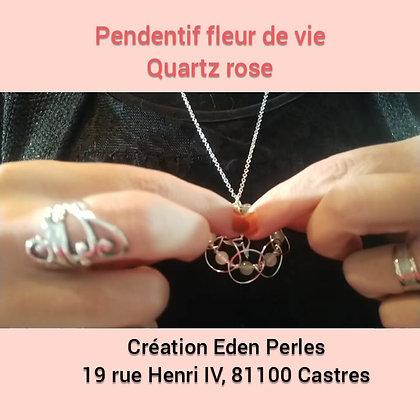 Pendentif fleur de vie quartz rose