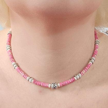 Tour de cou en pierres naturelles rose/blanc
