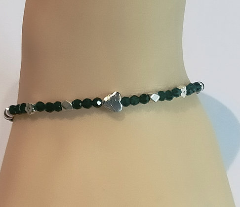 Bracelet vert facettes/hématite