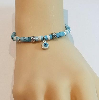 Bracelet P.N. Argenté/Bleu azure œil porte bonheur