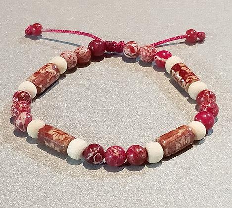 Perles en bois rouge à motifs/blanc + sédiment de la mer rouge, ajustable