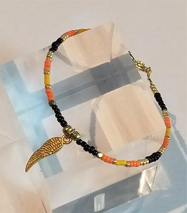 Bracelet noir/orange/doré aile