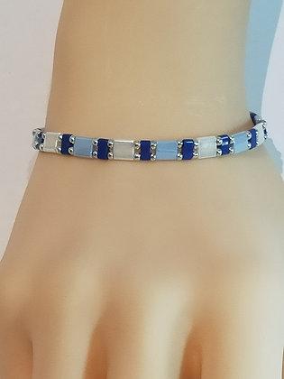 Bracelet duo argenté/blanc/bleu