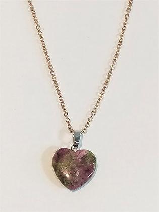 Chaîne/pendentif cœur unakite