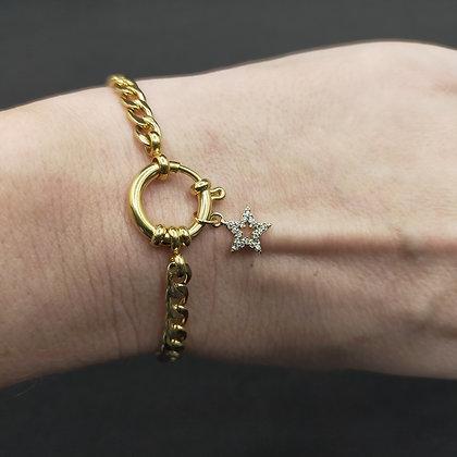 Bracelet grosse chaîne étoile/doré