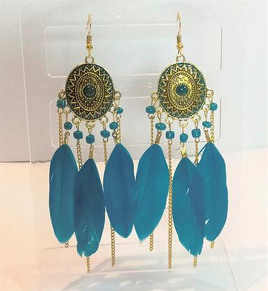 Boucles d'oreilles doré/bleu