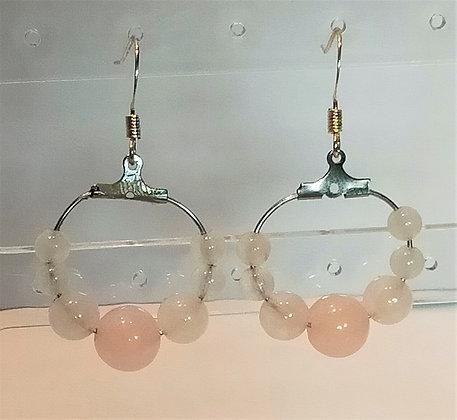 Boucles d'oreilles argenté/quartz rose