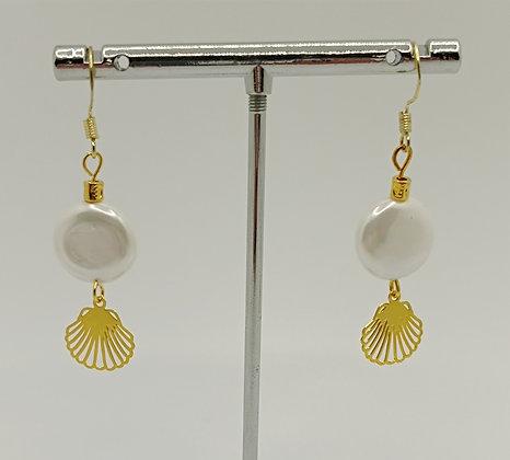 B.O. perles de nacre rond coquillage doré