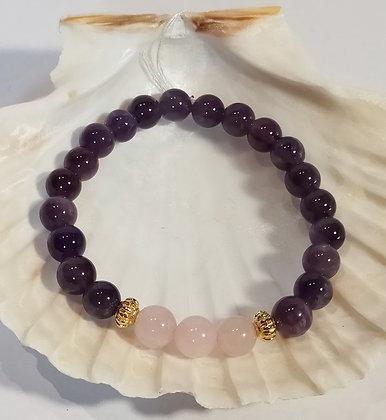 Améthyste, quartz rose